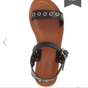 Top shop Leather Slim Grommet stud Flat Sandal